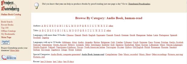 Project Gutenberg Categories