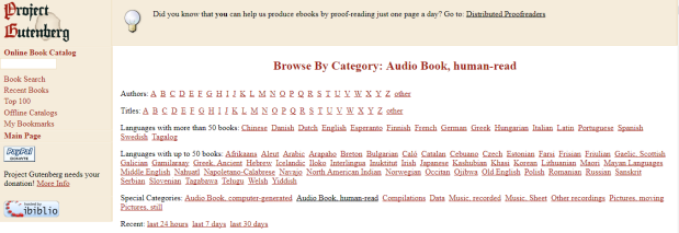 Project Gutenberg Categories