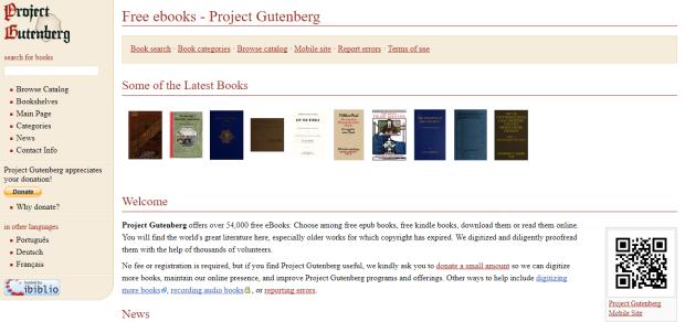 Project Gutenberg Screenshot