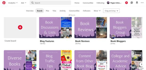 Pinterest board covers screenshot example